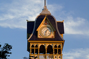 Clock above Petrolia Library